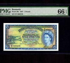 Bermuda 1 Pound 1957 P-20c * PMG Gem Unc 66 EPQ * Queen Elizabeth *