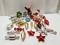 Vintage Unbreakable Christmas Tree Ornaments Candy Bird Plastic Teardrop Star