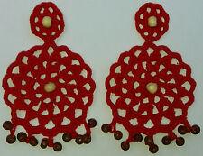 Pendientes de ganchillo, hechos a mano. Rojos. Pura artesanía