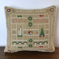 "Merry Christmas Pillow Hand Embroidered Cross Stitch 13"" Tree Candles Wreath"
