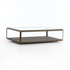 """56"""" Delmina Shadow Box Coffee Table Iron Resin Tempered Glass Antique Brass Gre"""