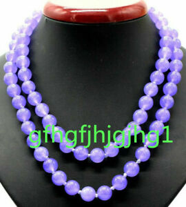 "10mm -14mm Purple Lavender Round Gemstone Beads Necklace 18-100"" 925 silver clas"