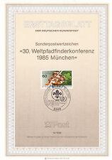 Alemania 1985 30th Pathfinder Scout conferencia Munich primer día página en muy buena condición