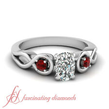 .80 Ct Cushion Cut Diamond & Round Red Ruby Engagement Ring SI1 GIA Certified