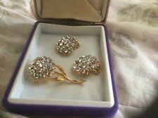 Flower Diamanté Clip on Earrings And Brooch Set