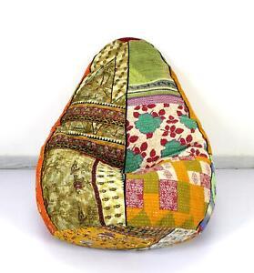 Handmade Sacco Chair Cotton Kantha Bohemian Bean Bag Stool Chair Indian Art