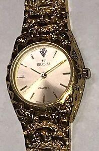Elgin Diamond Dial FND 02 012 Gold Nugget Appearance Quartz Watch.