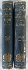 The Republic of Plato–Greek Text,Vol I & III edited+Notes B.Jowett & L. Campbell