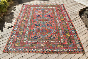 Caucasian Rug 69''x94'' Hand Woven Antique 5x7 Vintage Sumak Kilim 177x240cm