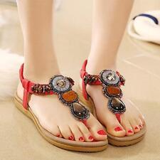 Women Summer Bohemia Slippers Flip Flops Flat Sandals Clip Toe Beach Thong Shoes