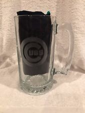 Huge Chicago Cubs 7 Inch Frosted Team Logo Glass Beer Mug, Super Nice!