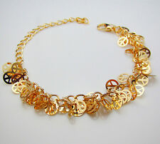 Gold Tone Adjustable Sequin Peace Sign Sexy Chain Ankle Bracelet Beach JEWELRY
