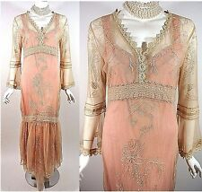 Downtown Abbey Dress NATAYA Pink Lace Dress Victorian Bridal Wedding XL Gatsby