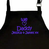 Personalised EMBROIDERED Fathers Day Apron I or WE LOVE DADDY or GRANDAD & names