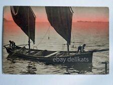 LAGO DI GARDA tramonto barca vela pescatori vecchia cartolina 10283