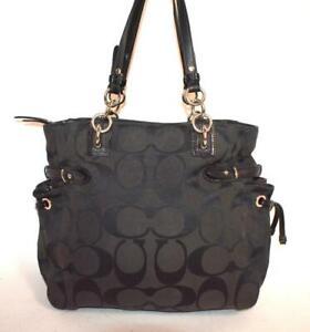 COACH COLETTE Signature Black Leather Medium Jacquard Purse Shoulder Bag 23073m