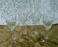 SET OF 4 VERTICAL CUT CRYSTAL CHAMPAGNE FLUTES