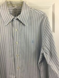 Brooks Brothers Non Iron Supima Cotton Blue Striped Shirt w/ Logo Men's Sz L