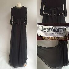 Stunning 1970s Jean Varon Vintage Designer Black Evening Dress Size 8 10 12