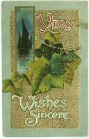 John Winsch Back Xmas Sincere Wishes Ivy Leaves Green Border Embossed Postcard