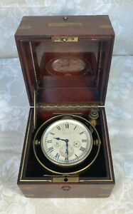 Ant Waltham Ship's Chronometer 1918 Running Condition Beautiful Mahogany Casee
