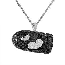 Mario Bullet Bomb Pendant Black White Simulated Diamond Full Iced Out Free Chain
