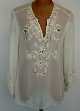 SILKLAND Womens Plus Size Embroidered Beaded Champagne Silk Blouse Top Size 2X