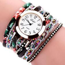 Women Watch Bracelet Crystal Leather Dress Party Analog Quartz Wrist Watches NEW
