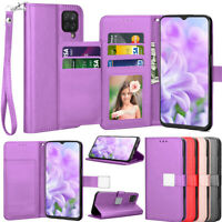 For For Samsung Galaxy A12 Case Wallet Leather Card Slot Cover Folding KickStand