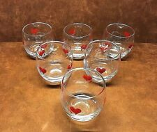 Set of (6) Rocks/Cocktail Glasses w/ Red Hearts w/ Tails Barware ~ 3 1/4