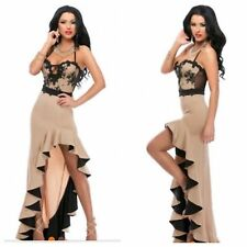 Nouveau noir élégant nude bordures à volants en dentelle boutique robe taille 12-14