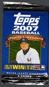 3 (three) 2007 TOPPS Udate and Highlights BASEBALL 6 CARD PACK