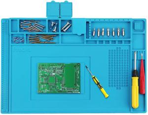 Preciva Soldering Mat, 500℃ Heat Resistant Silicone Work Mat, Multi-Purpose Magn