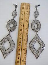 LONG EARRINGS! MEGA EARRINGS! Silver Tone Extra Long Dangle Earrings CHANDELIER