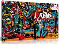 Multi Coloured Abstract Oil Painting Canvas Wall Art Picture Print