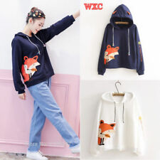 Japanese Harajuku Girls Cartoon Fox Printed Kawaii Hoodies Sweatshirt Pullovers