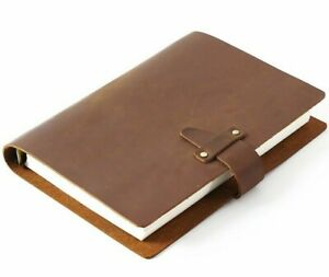 Notebook  A5 Cowhide Leather Cover  Journal Diary Loose Leaf Sketchbook Planner
