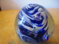 Vintage Art Glass Paperweight Deep Blue With White and Clear Bubbles