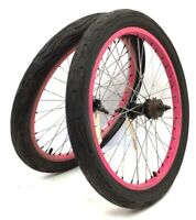 "20"" Bicycle Pink Wheel Set Front, Rear, Freewheel, 2.0"" Tires BMX Bike # O35"
