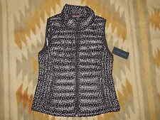 NWT Tommy Hilfiger - Women's L  Black w White Dots Puffer Vest Jacket w Pack Bag