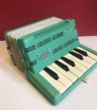 Vintage 1960s Emenee Toy Accordion Rare Mint Green Jade