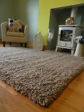SMALL LARGE MOCHA BROWN BISCUIT THICK HEAVY SOFT QUALITY SHAGGY PILE RUG CARPET
