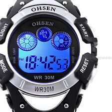 OHSEN Men Teen 7 Modes Lights Silver Case Date Stop Digit Run Quartz Wrist Watch