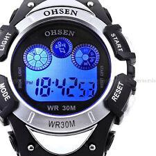 OHSEN Men Teen 7 Modes Lights Silver Case Date Stop Digit Run Quartz Wrist Watch