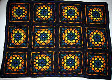 HANDMADE Crochet AFGHAN Knit THROW vtg STAINED GLASS Quilt COUCH Lap BED BLANKET