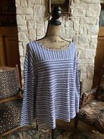 Navy White Stripe Textured Long Sleeve T Shirt Sweater Ribbed Button Back XL