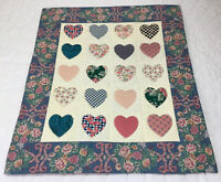 Appliqué Quilt Wall Hanging, Hearts, Floral Calicos, Star Print, Hand Made, 1994