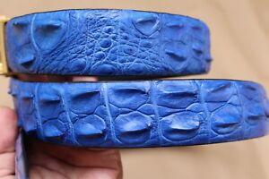 Bright Blue Genuine CROCODILE Leather Skin MEN'S Belt - No Jointed