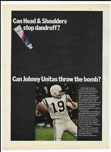 1968 Johnny Unitas Head & Shoulders Sports Illustrated Ad ~ Throw the Bomb?