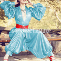 Latex Rubber Women Shirt And Pants Set Fashion Party Uniform Gummi XXS-XXL